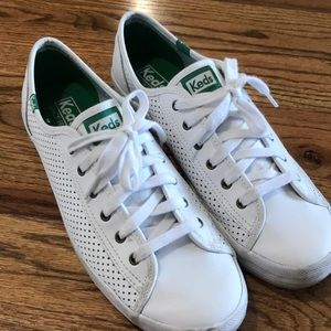 KEDS Classic WHITE Leather Mesh Sneakers